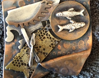 Copper brooch with fish knife fork artist made