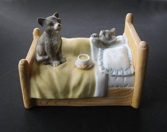 Cat Porcelain Figurine Gray Cats on Bed with Musicbox