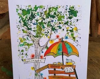NEW, Lemonade Tree Notecard, blank inside