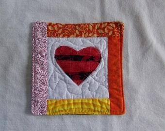 Scrappy  Bright Batik Hearts Mug Rug/Coaster  #16