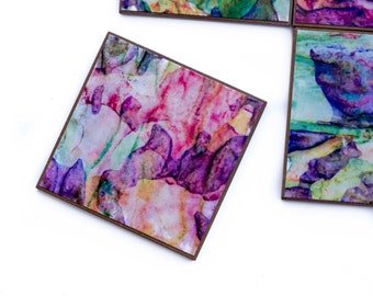 Photo Coasters - Handmade Paper - Painted Coasters - Squiggle Lines - Abstract Design - Bold Colors - Parchment Paper - Striped Coasters