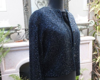 Vintage Sweater, Black and Silver Metallic, Cardigan, Cropped, Holiday Sweater, Evening, Dressy