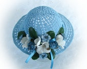 Doll Hat for American Girl Doll Blue Doll Hat 18 Inch Doll Summer Hat Am Girl Doll Blue Hat Crochet Blue Doll Hat - RESERVED for Penny J.