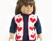 Doll Vest Valentine Heart Doll Vest American Girl Doll Vest AG Doll Valentine Vest Knit Doll Vest Red White Knit 18 Inch Doll Heart Vest