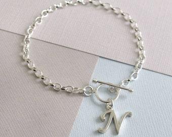 Sterling Silver Script Initial Bracelet