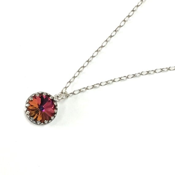 Volcano Swarovski Rivoli crystal on sterling silver chain