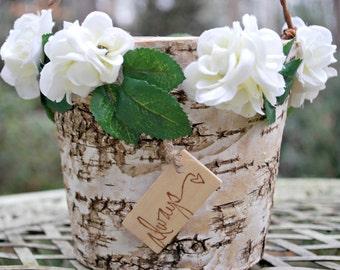 Rustic Flower Girl Basket - Rustic Wedding - Birch Bark Basket - Wedding Flower Girl Basket - Shabby Chic Wedding - The Rose