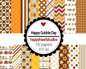 Digital Scrapbook  HappyGobbleDay-INSTANT DOWNLOAD