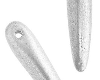 56pcs Czech Glass Thorn -  Spikes - Silver Metallic 5x16mm (96332)