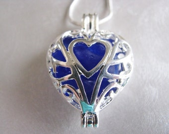 Sea Glass Heart Locket - Heart Pendant - Heart of my Heart