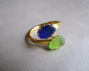 Beach Glass Jewelry - Cobalt Blue and Kelly Green Ring - Sea Glass Double Ring