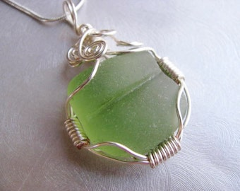 Mint Green Sea Glass - Sea Glass Pendant - Wire Wrapped Pendant - Beach Glass Jewelry