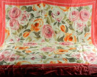 """Oscar de la Renta Silk Scarf Multicolor Deep Coral Taupe Cream Pink Floral 34"""" 15493"""