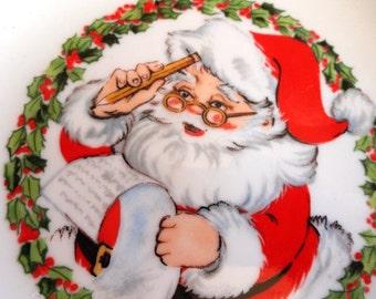 Vintage Santa Christmas Plate, Porcelain with 22k Gold Edges, Santa Making His List