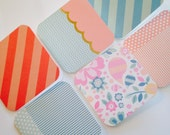 Gift Tags (Set of 6), Mini cards, stripes, dots, floral, gift enclosures, paper and party supplies, blue, pink, lunchbox notes, stationery