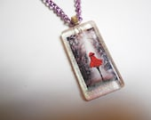 Little Red ... walking thru the woods, glass pendant, teen jewelry ... #653