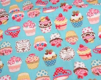 Cupcake print Japanese fabric Fat Quarter  (lb1B)