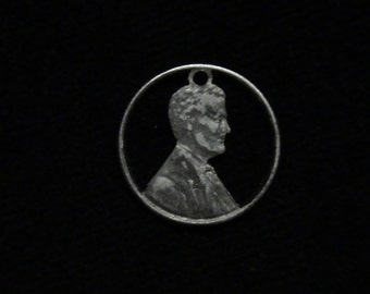 1943 US - cut coin pendant - from US steel penny - w/ Abraham Lincoln