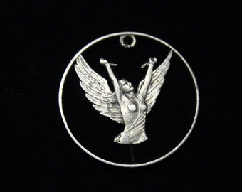 Chile - cut coin pendant - Angel Breaking Chains - 1977