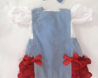 Dorothy Baby Girl 3 Piece Ruffle Romper Halloween Costume Outfit Newborn - 24 months