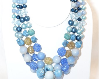 Vintage 4-Strand Necklace of Blue and Gold Lucite and Plastic Beads