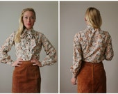1970s Floral Ascot Blouse~Size Small to Medium