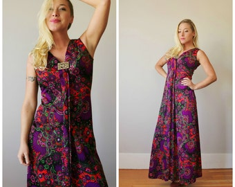 1960s Jeweled Floral Maxi Dress >>> Size Extra Small to Small