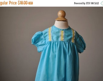 ON SALE 1960s Summer Turquoise Dress~Size 18 Months