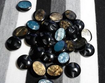 Brown or blue round button. 1 button.