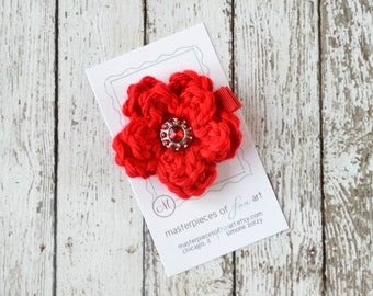 Small Red Crocheted Flower Hair Clip with Rhinestone Center - crocheted flower hair bow - flower hair clips - hairbow - Summer clippie