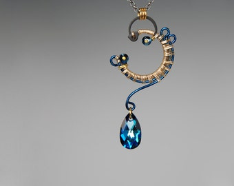 Bermuda Blue Swarovski Crystal Industrial Pendant,  Statement Pendant, Wedding Jewelry, Wire Wrapped, Youniquely Chic, Arcturus v6