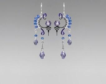 Blue Swarovski Crystal Steampunk Earrings, Purple Swarovski, Crystal Earrings, Watch Parts, Wire Wrapped, Youniquely Chic, Amphitrite II v14