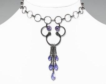 Tanzanite Swarovski Crystal Industrial Choker, Statement Jewelry, Purple Swarovski Crystal, Bridal Necklace, Swarovski Necklace, Etamin v2