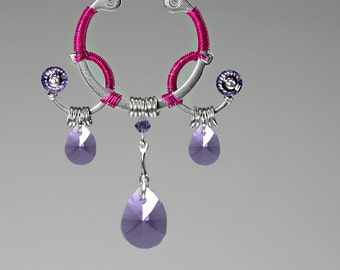 Larissa v3: Pink wire wrapped industrial Pendant with purple Swarovski crystal accents