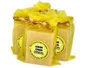 Lemon Citrus Handmade Cold Process Soap, 4oz - essential oil blend,phthalate free,yellow,vegan,natural,organic sustainable palm oil,organza