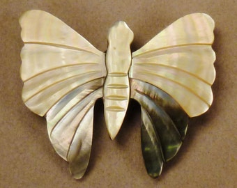 Art Deco  BUTTERFLY Brooch 1960s MOP and lucite  large size app 3 1/8 x 2 3/4  inches
