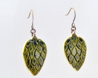 NEW - Etched Hop Earrings 5 - Beer Diva Beer Jewelry - Hop Jewelry - Beer Gear - Beer Geek Gift
