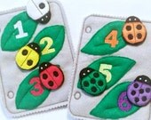 Felt ladybug counting and color matching quiet book pages Activity book #QB43