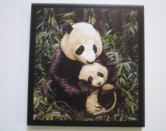 Panda Bears Wall Plaque, Mother and Baby Cub Bear