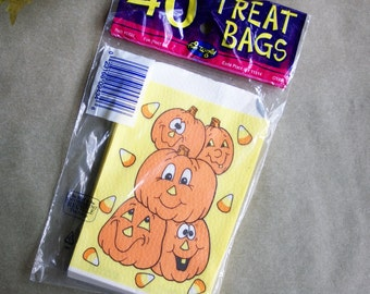 Vintage Halloween Treat Bags from 1995, Package of 40, Jack O Lantern And Candy Corn Graphics, Textured Paper, Orange and Yellow, NOS