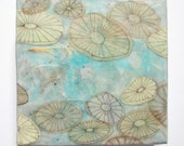 Encaustic art: Underwater Creatures, sand dollars, sea urchins, jellyfish, encaustic painting