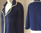 SALE Vintage 60's Navy Blue Cardigan, Woman's Blue Sweater, Mad Men Style