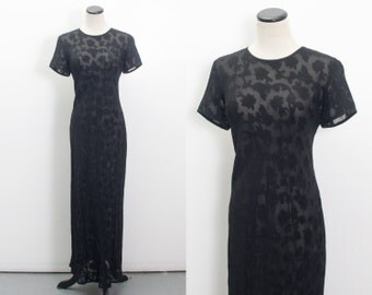 VTG 90's Sheer Witchy Maxi Dress (Medium / Large) Embroidered Flowers Short Sleeves Sheath Dress Floral See Through Witch Goth Grunge