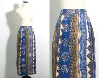 VTG 90's Blue & Gold Southwestern Skirt (Medium) Straight Maxi Jean Skirt Geometric Abstract Pattern Blue Yellow Vintage Skirt