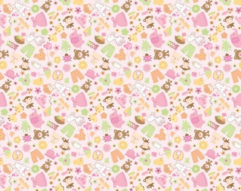Sweet Friends Pink  Cotton Fabric in by Doodlebug Designs for Riley Blake Designs- 1 Yard