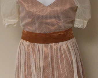Vintage sheer lace tulle ivory party dress rust brown liner