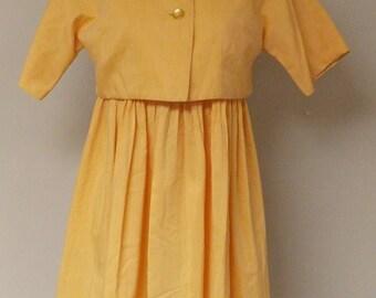 Homemade vintage dress light orange gold full skirt short jacket
