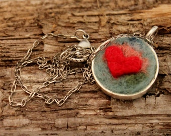 Felted Heart Necklace,Heartscapes Pendant Necklace, Needle Felted Heart  Necklace, Silver Heart Necklace #1677