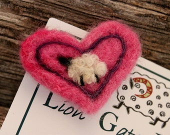 Sheep, Needle Felted Sheep Heart Pin, Felted Sheep Brooch, # 1623