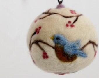 Wool Bird Ornament, Needled Felted Bird Ornament, Blue Bird Ornament, Felted Bird Ornament, Felted Blue Bird Ornie #1308